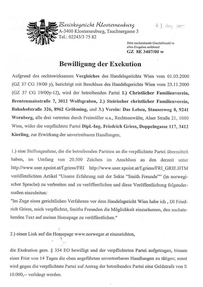 Exekutions-Bewilligung des Bezirksgerichts Klosterneuburg vom 4. Dezember 2000